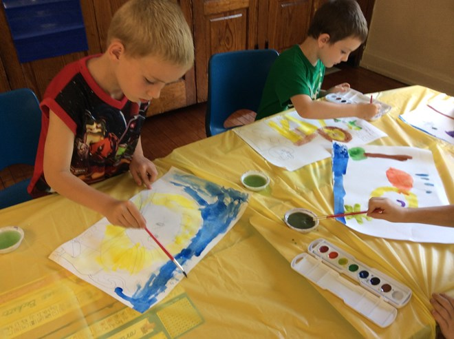 1st Grade paints with Watercolors