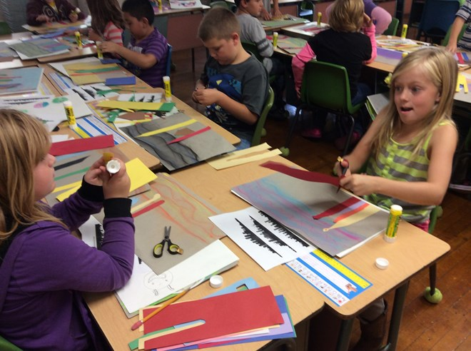 3rd Graders create colorful cityscapes