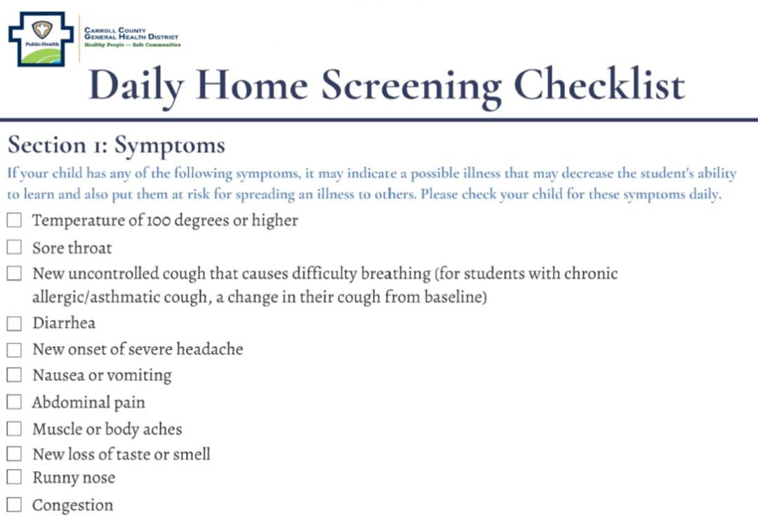 Home Screening Checklist